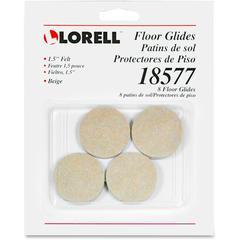 """Lorell Self-Stick Round Felt Floor Glides - 1.5"""" Diameter - Felt - Beige"""