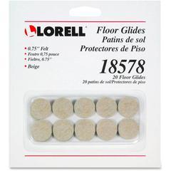 """Lorell Self-Stick Round Felt Floor Glides - 0.8"""" Diameter - Felt - Beige"""