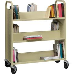 """Lorell Double-sided Book Cart - 6 Shelf - 200 lb Capacity - 5"""" Caster Size - Steel - 36"""" Width x 19"""" Depth x 46"""" Height - Putty"""