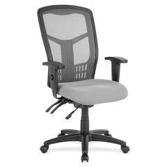 "Ergomesh Seating Exec Mesh High-Back Chair - Fabric Seat - Steel Black, Plastic Frame - 5-star Base - Black, Gray - 28.5"" Width x 28.5"" Depth x 45"" Height"