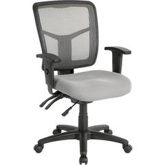 "Lorell Swivel Mid-Back Chair - Fabric Gray Seat - Black Back - Black Frame - 5-star Base - 25.3"" Width x 23.5"" Depth x 40.5"" Height"