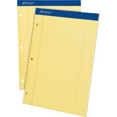 """Ampad Perforated Ruled Pads - 50 Sheets - Stapled - 0.34"""" Ruled - 8 1/2"""" x 11 3/4"""" - Dark Blue Binder - Sturdy Back, Chipboard Backing, Perforated, Tear Resistant - 1Dozen"""