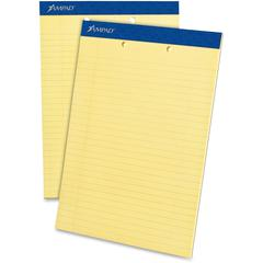 "Ampad Perforated Ruled Pads - 50 Sheets - Printed - Stapled - 15 lb Basis Weight - Letter 8.50"" x 11"" - Canary Yellow Paper - 1Dozen"