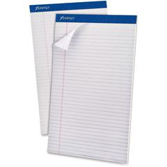 "Ampad Perforated Ruled Pads - Legal - 50 Sheets - Stapled - 0.34"" Ruled - 20 lb Basis Weight - 8 1/2"" x 14"" - White Paper - White Cover - Sturdy Back, Header Strip, Pinhole Perforated, Chipboard Backi"