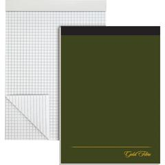 """Ampad Gold Fibre Premium Quad Ruled Pad - 80 Sheets - Wire Bound - Both Side Ruling Surface - 20 lb Basis Weight - 8 1/2"""" x 11 3/4"""" - White Paper - Classic Green Cover - Micro Perforated, Chipboard Ba"""