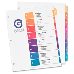 "Avery Ready Index Customizable Table of Contents Dividers with Sub-Dividing Tabs - Printed, Printed Tab(s) - Character/Digit - A-C, 1-8 - 8 Tab(s)/Set - Letter - 8 1/2"" Width x 11"" Length - 3 Hole Pun"