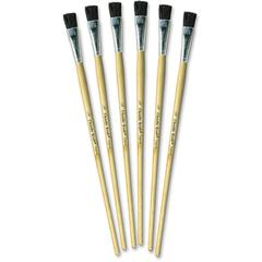 "ChenilleKraft 1/2"" Tempera Brush Set - 6 Brush(es) - 0.50"" Wood Natural Handle - Aluminum Ferrule"