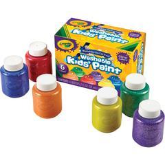 6-color Glitter Washable Kids Paint - 2 oz - 6 / Set - Red, Yellow, Blue, Green, Purple, Orange