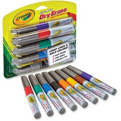 Crayola Visi-Max Dry Erase Markers - Chisel, Bullet Marker Point Style - Red, Green, Blue, Black - 8 / Pack