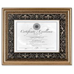 "Dax Textured Mat Florence Document Frame - 14"" x 11"" Frame Size - Rectangle - Wall Mountable - Vertical, Horizontal - 1 Each - Gold, Black, Gold"