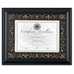 """Dax Textured Mat Florence Document Frame - 14"""" x 11"""" Frame Size - Rectangle - Wall Mountable - Vertical, Horizontal - Black, Silver, Black"""