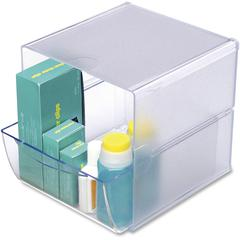 "Stackable Plastic Desktop Cube - 2 Compartment(s) - 1 Drawer(s) - 6"" Height x 6"" Width x 7.2"" Depth - Clear - Plastic - 1Each"