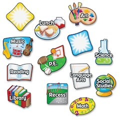 "Learning Resources Magnetic Subject Labels - ""Math"", ""P.E."", ""Library"", ""Lunch"", ""Recess"", ""Art"", ""Music"", ""Social Studies"", ""Science"", ""Language Arts"", ""Reading"" - 6"" Width x 4"" Length - Rectangle -"