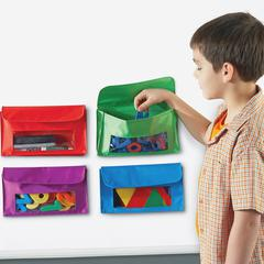 "Learning Resources Magnetic Storage Pocket Set - 5.5"" Height - Red, Green, Blue, Purple - 4 / Set"