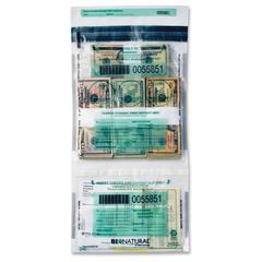 MMF Bio-Natural Twin Deposit Bags - Clear - 5/Pack - Currency, Check, Deposit Slip