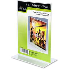 "Nu-Dell Double-sided Sign Holder - 1 Each - 5"" Width x 7"" Height - Rectangular Shape - Double-sided, Self-standing - Plastic - Clear"