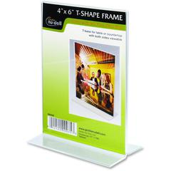"""Nu-Dell Double-sided Sign Holder - 1 Each - 4"""" Width x 6"""" Height - Rectangular Shape - Double-sided, Self-standing - Plastic - Clear"""