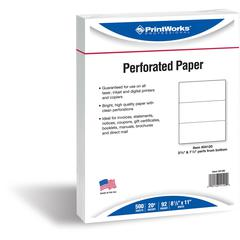 "PrintWorks Professional Pre-Perforated Paper for Invoices, Statements, Gift Certificates & More - Letter - 8 1/2"" x 11"" - 20 lb Basis Weight - 500 / Ream - White"