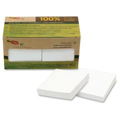 "TreeFrog Notes - 100 x Classic White - 3"" x 3"" - Rectangle - Plain - White - Sugarcane - Self-adhesive, Writable, Eco-friendly, Smooth, Chlorine-free, Dye-free, Solvent-free Adhesive - 12 / P"