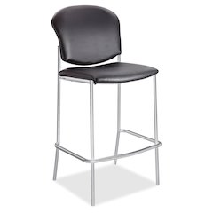 "Safco Black Diaz Bistro Chair - Vinyl Black Seat - Vinyl Black Back - Steel Frame - Four-legged Base - Rubber - 19"" Seat Width x 18"" Seat Depth - 19.5"" Width x 18.5"" Depth x 44.5"" Height"