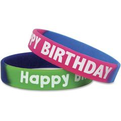 Teacher Created Resources Happy Birthday Wristbands - 10 / Pack - Happy Birthday Design - Silicone