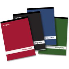 """TOPS Small Top Binding Writing Tablets - 100 Sheets - Glued/Tapebound - 15 lb Basis Weight - 6"""" x 9"""" - 1.5"""" x 9""""6"""" - White Paper - Black Binder - Red, Black, Blue, Green Cover - Acid-free - 4 / Pack"""