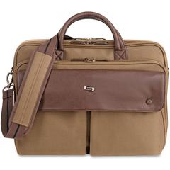 """Solo Executive Carrying Case (Briefcase) for 15.6"""" Notebook - Brown, Brown - Polyester - Handle, Shoulder Strap - 12"""" Height x 15.4"""" Width x 7.5"""" Depth"""
