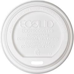 Eco-Products Renewable EcoLid Hot Cup Lids - Plastic, Polylactic Acid (PLA) - 800 / Carton - White
