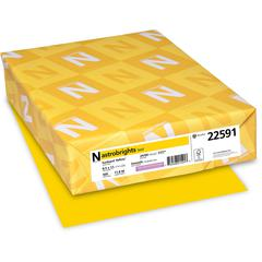 "Colored Paper - Letter - 8.50"" x 11"" - 60 lb Basis Weight - Recycled - Smooth - 500 / Ream - Sun Yellow"
