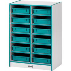 "Rainbow Accents Rainbow Paper Cubbie Mobile Storage - 12 Compartment(s) - 35.5"" Height x 24.5"" Width x 15"" Depth - Blue - Rubber - 1Each"
