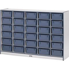 "Rainbow Accents Cubbie Mobile Storage - 30 Compartment(s) - 42"" Height x 60"" Width x 15"" Depth - Blue - Hard Rubber - 1Each"