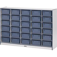 "Rainbow Accents Cubbie Mobile Storage - 30 Compartment(s) - 42"" Height x 60"" Width x 15"" Depth - Teal - Hard Rubber - 1Each"