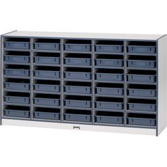 "Gray Laminate Cubbie Storage Unit - 30 Compartment(s) - 35.5"" Height x 60"" Width x 15"" Depth - Blue - Rubber - 1Each"