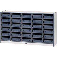 "Gray Laminate Cubbie Storage Unit - 30 Compartment(s) - 35.5"" Height x 60"" Width x 15"" Depth - Purple - Rubber - 1Each"
