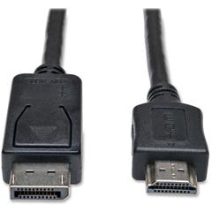 Tripp Lite 3ft DisplayPort to HDMI Cable Adapter Converter DP to HDMI M/M - DisplayPort/HDMI for Monitor, TV, Audio/Video Device - 3 ft - 1 x DisplayPort Male Digital Audio/Video - 1 x HDMI Male Digit
