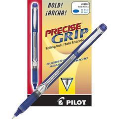 PRECISE Precise Grip Bold Rollerball Pens - Bold Point Type - Needle Point Style - Blue - Blue Barrel - 1 Dozen