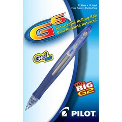 Pilot G6 Retractable Gel Pens - Fine Point Type - Refillable - Blue Gel-based Ink - Blue Barrel - 1 Dozen