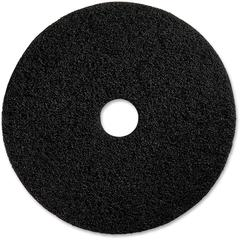 "Genuine Joe Black Floor Stripping Pad - 17"" Diameter - 5/Carton x 17"" Diameter x 1"" Thickness - Fiber - Black"