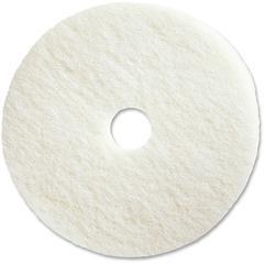 "Genuine Joe Polishing Floor Pad - 19"" Diameter - 5/Carton x 19"" Diameter x 1"" Thickness - Fiber - White"