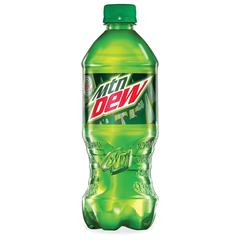Mountain Dew Bottled Soda - Soda Flavor - 20 fl oz - Bottle - Green - 24 / Carton