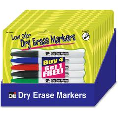 Dry Erase Markers Set Display - Bullet Point Style - Green, Red, Blue, Black - 12 / Display Box