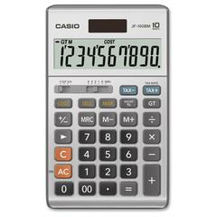 """Casio JF-100MS Solar Plus Display Calculator - Large Display, Independent Memory, Sign Change, Key Rollover, Decimal Point Selector Switch, Dual Power - Battery/Solar Powered - 6.8"""" x 4.2"""" x 1.1"""" - Pl"""