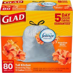 Glad OdorShield 13-gal Tall Kitchen Bags - 13 gal - White - Plastic - 80/Box - Kitchen