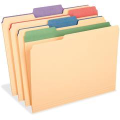 "Pendaflex Colored Tab Manila File Folders - 3/4"" Folder Capacity - Letter - 8 1/2"" x 11"" Sheet Size - 1/3 Tab Cut - Assorted Position Tab Location - 11 pt. Folder Thickness - Stock - Manila - 12 / Pac"
