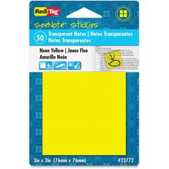 "Redi-Tag SeeNote Stickies Neon Transparent Notes - 50 x Neon Yellow - 3"" x 3"" - Square - 50 Sheets per Pad - Neon Yellow - Self-adhesive, Repositionable, Removable, Residue-free, Writable - 1 Pad"