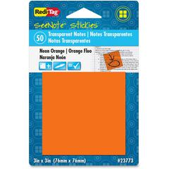 "Redi-Tag SeeNote Stickies Neon Transparent Notes - 50 x Neon Orange - 3"" x 3"" - Square - 50 Sheets per Pad - Neon Orange - Self-adhesive, Repositionable, Removable, Residue-free, Writable - 1 Pad"
