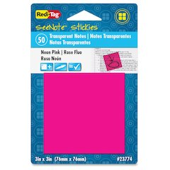 "Redi-Tag SeeNote Stickies Neon Transparent Notes - 50 x Neon Pink - 3"" x 3"" - Square - 50 Sheets per Pad - Neon Pink - Self-adhesive, Repositionable, Removable, Residue-free, Writable - 1 Pad"