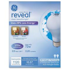 GE Lighting Reveal 72W A19 Halogen Bulb - 72 W - 120 V AC - A19 Size - White - E26 Base - 1000 Hour - 4940.3°F (2726.8°C) Color Temperature - 100 CRI - Energy Saver - 2 / Box