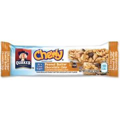 Quaker Oats Peanut Butter Choco Chip Granola Bars - Individually Wrapped - Peanut Butter, Chocolate Chip - 6.70 oz - 96 / Carton