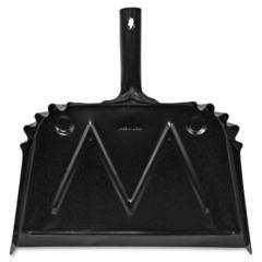 """Genuine Joe Scope Dust Pan - 16"""" Wide - Metal - Black"""